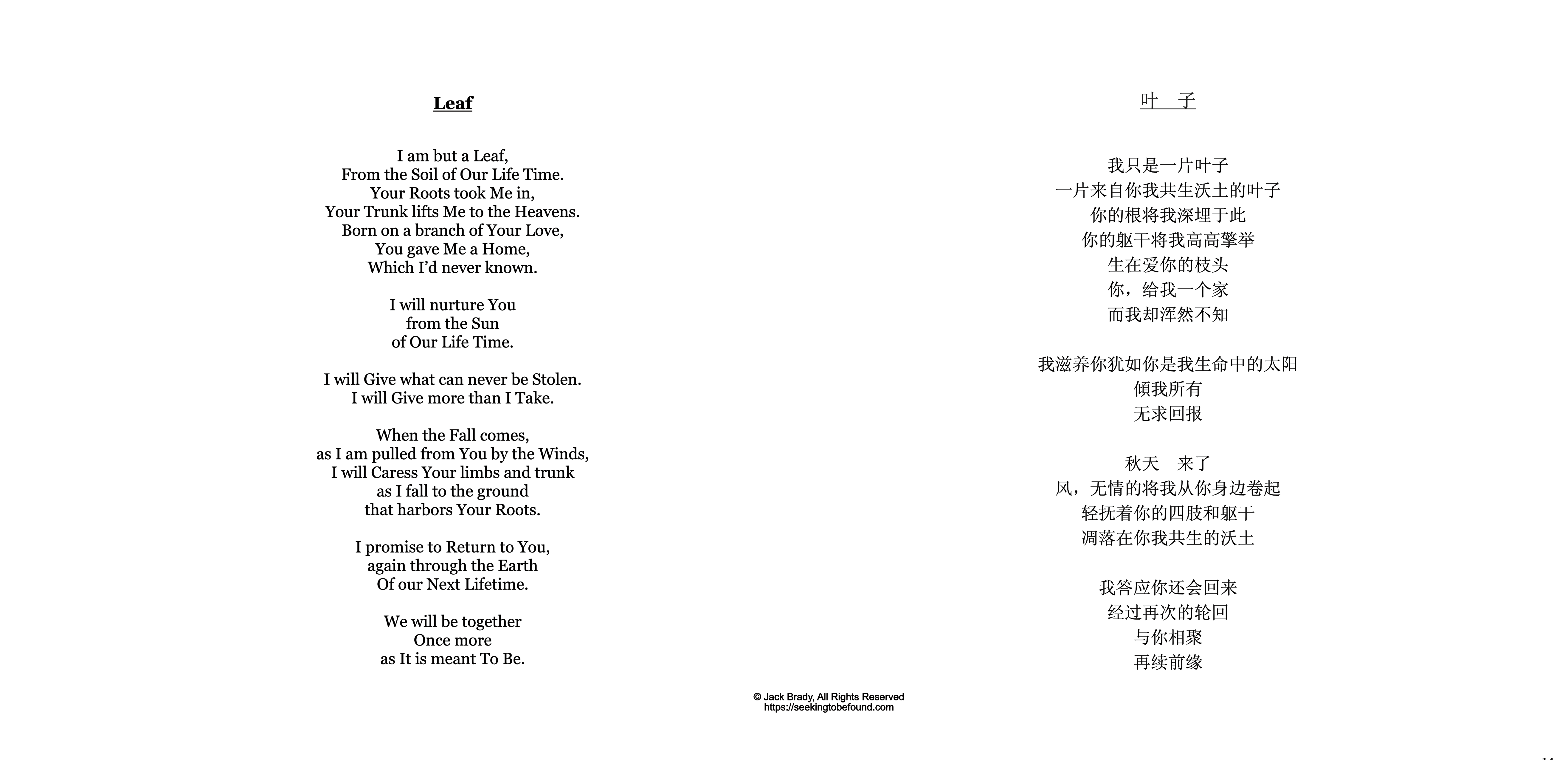 Leaf with Chinese, ©